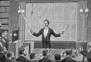 Illustration of Tesla Lecturing, 1880s.
